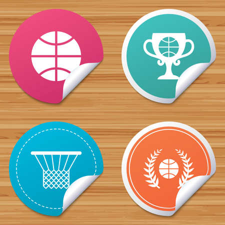 bended: Round stickers or website banners. Basketball sport icons. Ball with basket and award cup signs. Laurel wreath symbol. Circle badges with bended corner. Vector Illustration