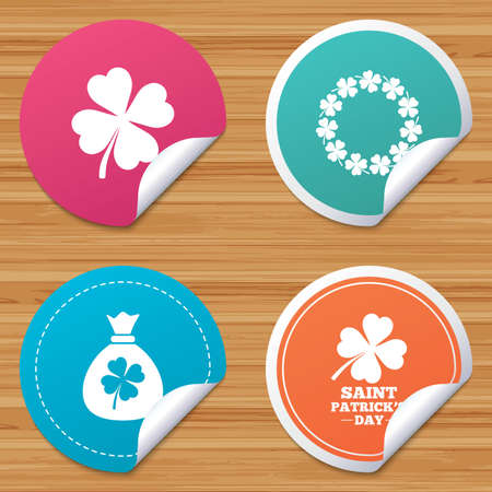 bended: Round stickers or website banners. Saint Patrick day icons. Money bag with clover sign. Wreath of quatrefoil clovers. Symbol of good luck. Circle badges with bended corner. Vector