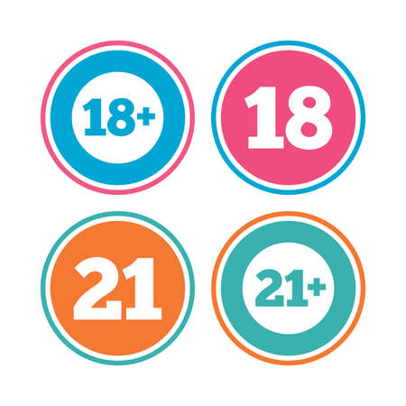 18 20 years: Adult content icons. Eighteen and twenty-one plus years sign symbols. Colored circle buttons. Vector