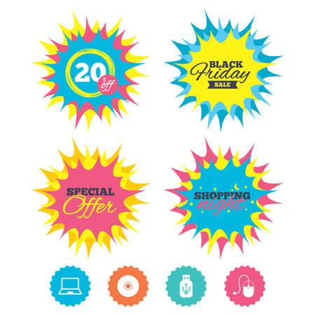 Shopping night, black friday stickers. Notebook pc and Usb flash drive stick icons. Computer mouse and CD or DVD sign symbols. Special offer. Vector Illustration