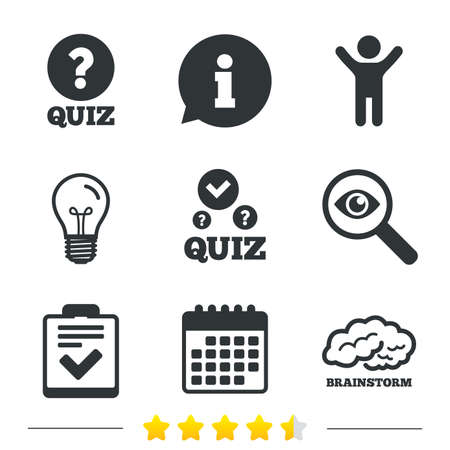 Quiz icons. Human brain think. Checklist with check mark symbol. Survey poll or questionnaire feedback form sign. Information, light bulb and calendar icons. Investigate magnifier. Vector
