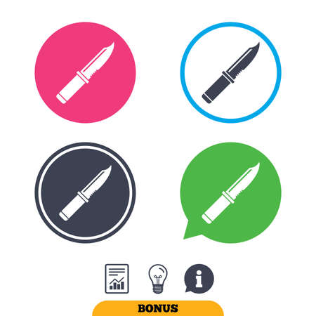 Knife sign icon. Edged weapons symbol. Stab or cut. Hunting equipment. Report document, information sign and light bulb icons. Vector