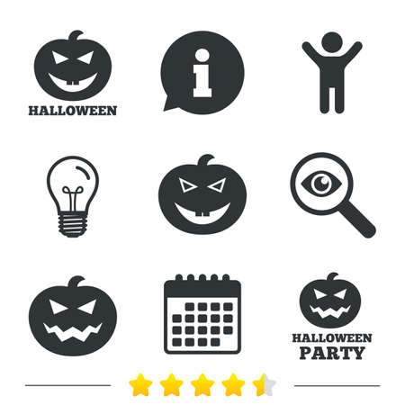 hallows: Halloween pumpkin icons. Halloween party sign symbol. All Hallows Day celebration. Information, light bulb and calendar icons. Investigate magnifier. Vector Illustration