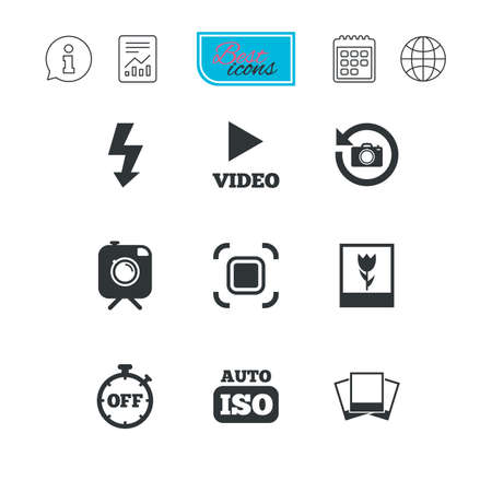 auto focus: Photo, video icons. Camera, photos and frame signs. Flash, timer and macro symbols. Report document, calendar and information web icons. Vector