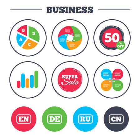 en: Business pie chart. Growth graph. Language icons. EN, DE, RU and CN translation symbols. English, German, Russian and Chinese languages. Super sale and discount buttons. Vector