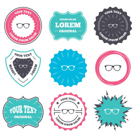 eyeglass frame: Label and badge templates. Retro glasses sign icon. Eyeglass frame symbol. Retro style banners, emblems. Vector