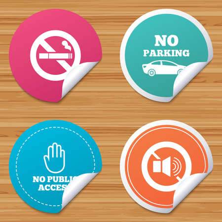 private access: Round stickers or website banners. Stop smoking and no sound signs. Private territory parking or public access. Cigarette and hand symbol. Circle badges with bended corner. Vector