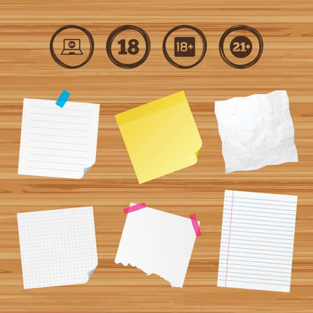 18 20 years: Business paper banners with notes. Adult content icons. Eighteen and twenty-one plus years sign symbols. Notebook website notice. Sticky colorful tape. Vector
