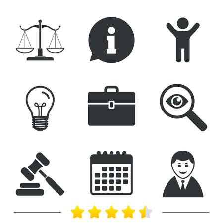 법무부 아이콘의 비늘 아이콘입니다. 클라이언트 또는 변호사 기호입니다. 경매 해머 기호입니다. 디노 법관 판사. 법원. 정보, 전구 및 달력 아이콘. 돋보기를 조사하십시오. 벡터