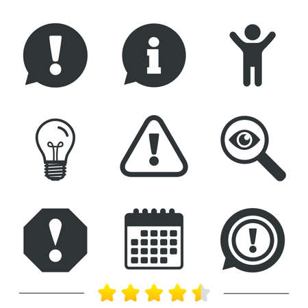 Attention icons. Exclamation speech bubble symbols. Caution signs. Information, light bulb and calendar icons. Investigate magnifier. Vector