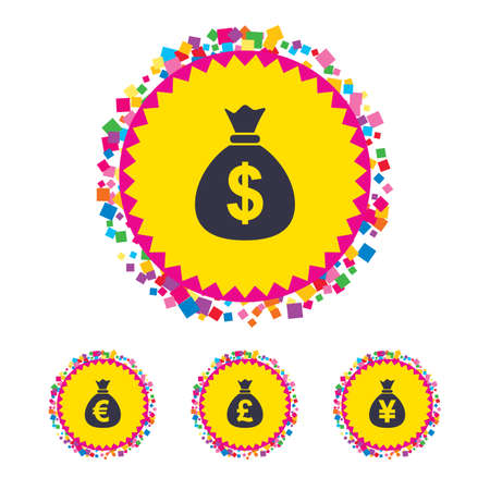 Web buttons with confetti pieces. Money bag icons. Dollar, Euro, Pound and Yen symbols. USD, EUR, GBP and JPY currency signs. Bright stylish design. Vector Illustration