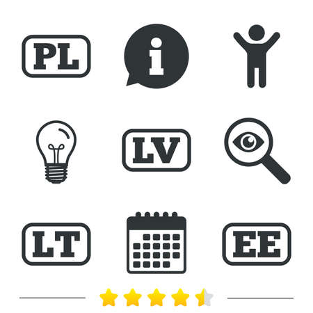 pl: Language icons. PL, LV, LT and EE translation symbols. Poland, Latvia, Lithuania and Estonia languages. Information, light bulb and calendar icons. Investigate magnifier. Vector