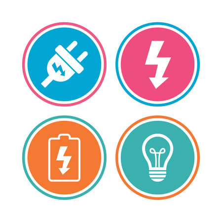 spiral cord: Electric plug icon. Lamp bulb and battery symbols. Low electricity and idea signs. Colored circle buttons. Vector