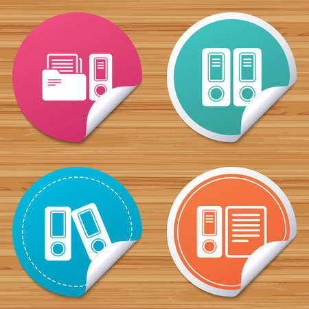 accountancy: Round stickers or website banners. Accounting icons. Document storage in folders sign symbols. Circle badges with bended corner. Vector