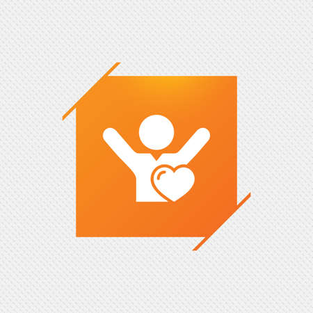 sport fan: Fans love icon. Man raised hands up sign. Orange square label on pattern. Vector