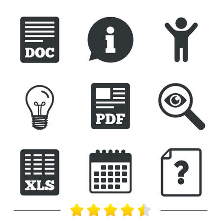 excel: File document and question icons. XLS, PDF and DOC file symbols. Download or save doc signs. Information, light bulb and calendar icons. Investigate magnifier. Vector
