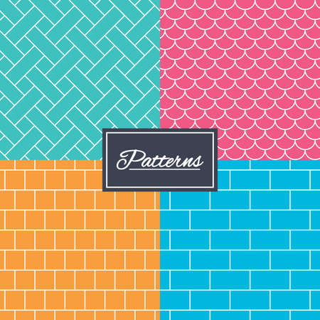 Bricks, tile roof and mosaic seamless textures. Linear geometric patterns. Modern textures. Abstract patterns with colored background. Vector
