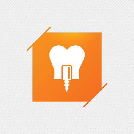 Tooth implant icon. Dental endosseous implant sign. Dental care symbol. Orange square label on pattern. Vector Illustration