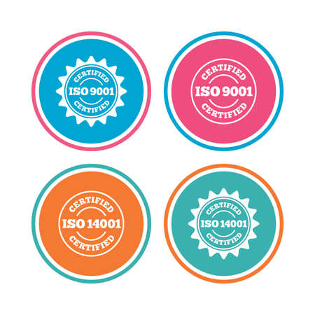 accepted label: ISO 9001 and 14001 certified icons. Certification star stamps symbols. Quality standard signs. Colored circle buttons. Vector