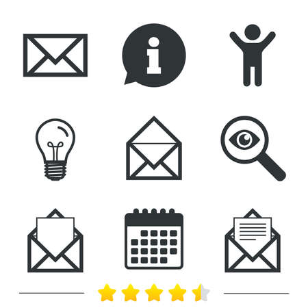 webmail: Mail envelope icons. Message document symbols. Post office letter signs. Information, light bulb and calendar icons. Investigate magnifier. Vector