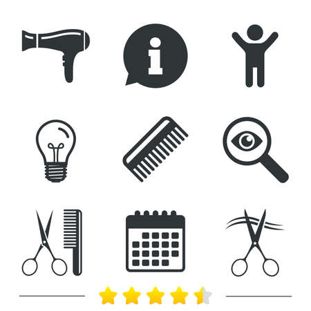 cut hair: Hairdresser icons. Scissors cut hair symbol. Comb hair with hairdryer sign. Information, light bulb and calendar icons. Investigate magnifier. Vector Illustration