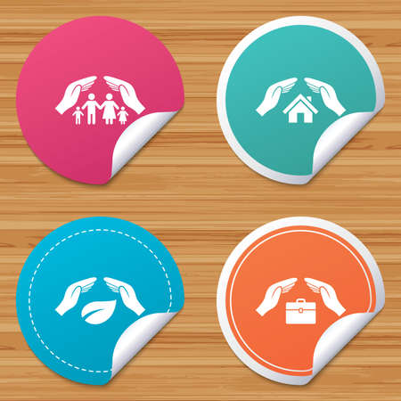 bended: Round stickers or website banners. Hands insurance icons. Human life insurance symbols. Nature leaf protection symbol. House property insurance sign. Circle badges with bended corner. Vector