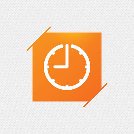 Clock time sign icon. Watch or timer symbol. Orange square label on pattern. Vector