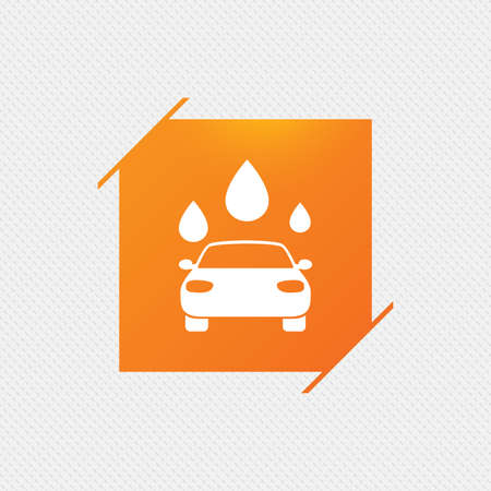 Car wash icon. Automated teller carwash symbol. Water drops signs. Orange square label on pattern. Vector Illustration