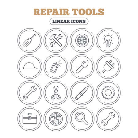 Repair tools icons. Hammer with wrench key, wheel and brush. Screwdriver, electric plug and scissors. Circuit board, magnifying glass and construction helmet. Circle flat buttons with linear icons