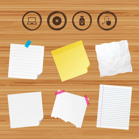 optical disk: Business paper banners with notes. Notebook pc and Usb flash drive stick icons. Computer mouse and CD or DVD sign symbols. Sticky colorful tape. Vector Illustration
