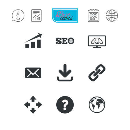 Internet, seo icons. Bandwidth speed, download arrow and mail signs. Hyperlink, monitoring symbols. Report document, calendar and information web icons. Vector
