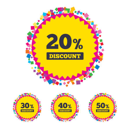 Web buttons with confetti pieces. Sale discount icons. Special offer price signs. 20, 30, 40 and 50 percent off reduction symbols. Bright stylish design. Vector