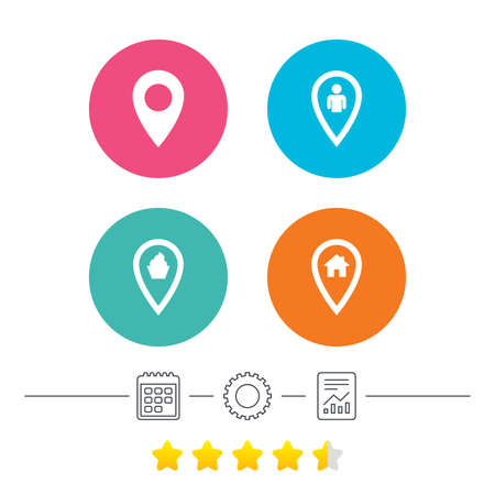 vote here: Map pointer icons. Home, food and user location symbols. Restaurant and cupcake signs. You are here. Calendar, cogwheel and report linear icons. Star vote ranking. Vector