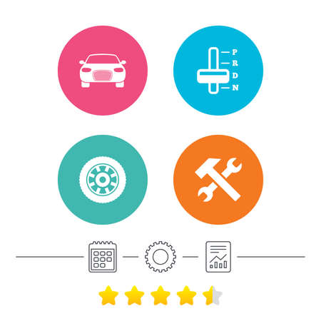 automatic transmission: Transport icons. Car tachometer and automatic transmission symbols. Repair service tool with wheel sign. Calendar, cogwheel and report linear icons. Star vote ranking. Vector