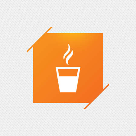 Coffee glass sign icon. Hot coffee button. Hot tea drink with steam. Takeaway. Orange square label on pattern. Vector