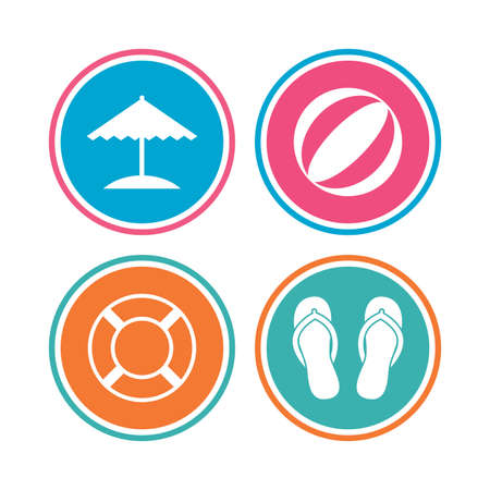 Beach holidays icons. Ball, umbrella and flip-flops sandals signs. Lifebuoy symbol. Colored circle buttons. Vector Illustration