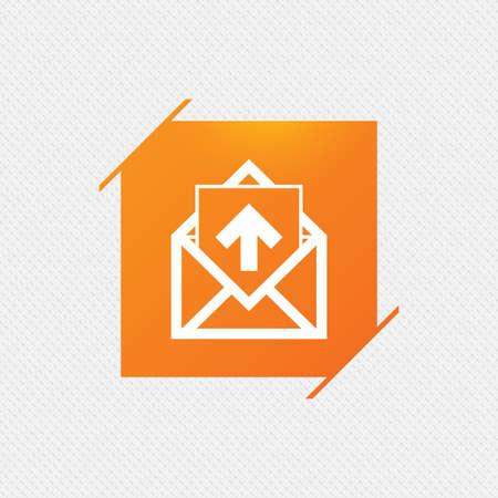 Mail icon. Envelope symbol. Outgoing message sign. Mail navigation button. Orange square label on pattern. Vector Illustration