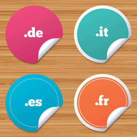 bended: Round stickers or website banners. Top-level internet domain icons. De, It, Es and Fr symbols. Unique national DNS names. Circle badges with bended corner. Vector