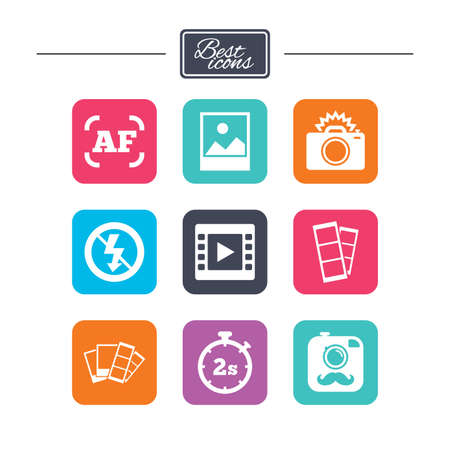 Photo, video icons. Camera, photos and frame signs. No flash, timer and strips symbols. Colorful flat square buttons with icons. Vector