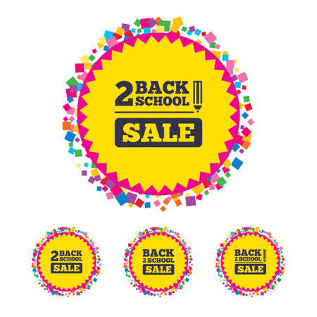 Web buttons with confetti pieces. Back to school sale icons. Studies after the holidays signs. Pencil symbol. Bright stylish design. Vector