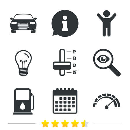light transmission: Transport icons. Car tachometer and automatic transmission symbols. Petrol or Gas station sign. Information, light bulb and calendar icons. Investigate magnifier. Vector Illustration