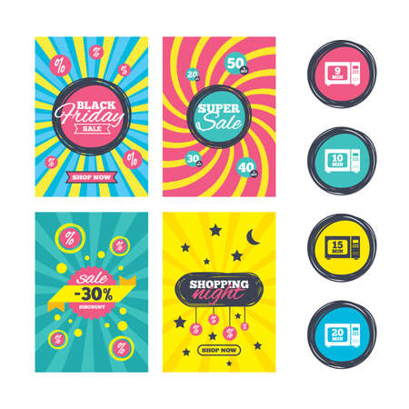 15: Sale website banner templates. Microwave oven icons. Cook in electric stove symbols. Heat 9, 10, 15 and 20 minutes signs. Ads promotional material. Vector