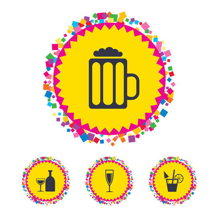 Web buttons with confetti pieces. Alcoholic drinks icons. Champagne sparkling wine and beer symbols. Wine glass and cocktail signs. Bright stylish design. Vector Illustration