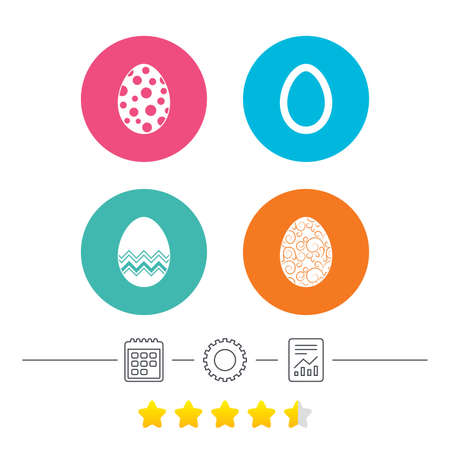Easter eggs icons. Circles and floral patterns symbols. Tradition Pasch signs. Calendar, cogwheel and report linear icons. Star vote ranking. Vector Illustration
