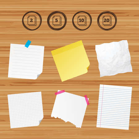 units: Business paper banners with notes. In pack sheets icons. Quantity per package symbols. 2, 5, 10 and 20 paper units in the pack signs. Sticky colorful tape. Vector