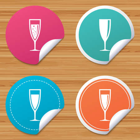 bended: Round stickers or website banners. Champagne wine glasses icons. Alcohol drinks sign symbols. Sparkling wine with bubbles. Circle badges with bended corner. Vector