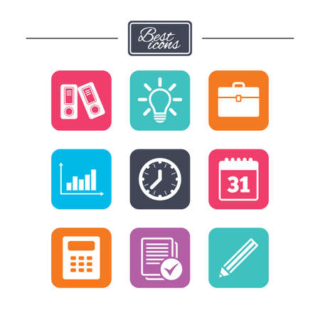 calc: Office, documents and business icons. Accounting, calculator and case signs. Ideas, calendar and statistics symbols. Colorful flat square buttons with icons. Vector Illustration
