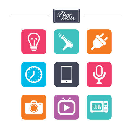Home appliances, device icons. Electronics signs. Lamp, electrical plug and photo camera symbols. Colorful flat square buttons with icons. Vector