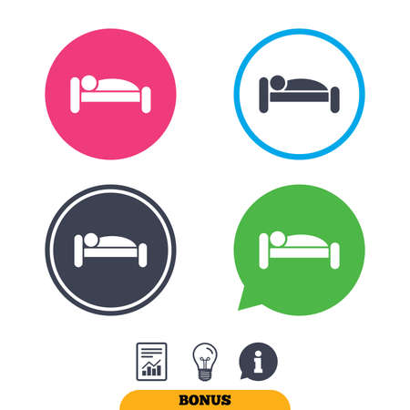 sleeper: Human in bed sign icon. Travel rest place. Sleeper symbol. Report document, information sign and light bulb icons. Vector