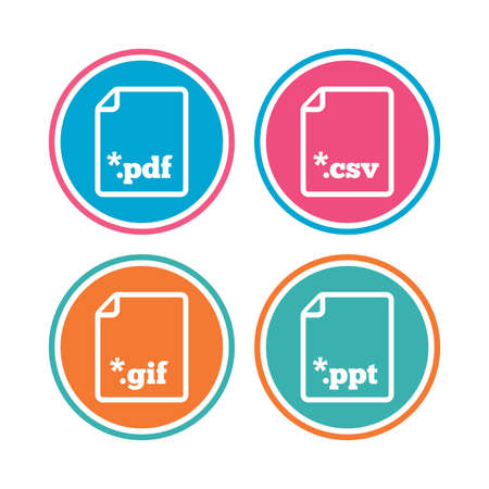 Download document icons. File extensions symbols. PDF, GIF, CSV and PPT presentation signs. Colored circle buttons. Vector Ilustrace